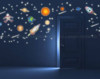Planets Solar System Space Wall Decals Fluo Wall Stickers