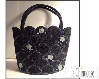 BAG in pearls / Vintage Beaded Bag / Bag cocktail / Evening Bag / Vintage Bag / Gift for her / Collectible / Vintage lovers.