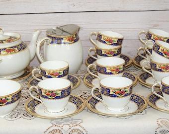 Vintage, Radfords Fenton, Art Deco, Fine Bone China 28 Piece Blue Gold Tea Set or Service with 11 cups + 12 saucers