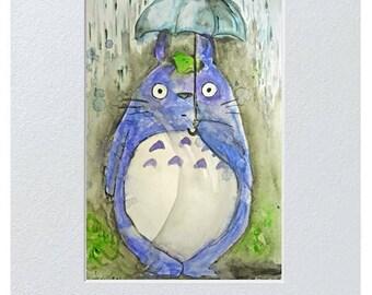Totoro  Watercolor postcard