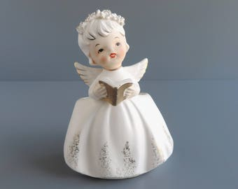 Vintage Inarco Angel Planter E-1622 | Girl With Hymn Book Cachepot | Spaghetti Trim | Made in Japan