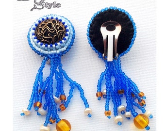 Bead Embroidery Еarrings Pendant Beadwork, THE LITTLE MERMAID - blue - black - yellow