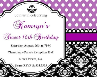 Purple Polka Dot Damask Personalized Printable Digital DIY Invite or Card ( Any Wording or Text)