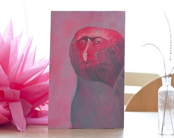 Sehr seriöser Affe in Pink 1, original Bild, Porträt auf Holz