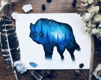 Wolf Painting | Wolf Art | Forest Painting | Mountains Painting | Landscape Painting | Double Exposure | Forest Animals | Space Painting