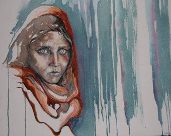 Afghan girl (inspired by iconic photo by Steve McCurry) Inks, oil pastels on canvass