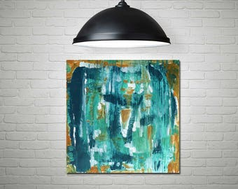 Abstract painting, acrylic abstract, blue abstract, teal art, contemporary abstract, mid century modern, modern abstract art, interior decor