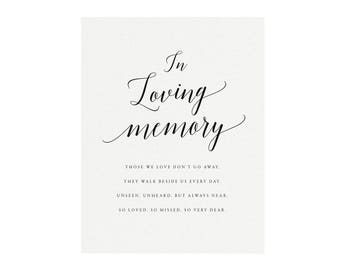 """Adel: 5x7 AND 8x10 Calligraphy """"In Loving Memory"""" Sign, Printable Memorial Wedding Sign, Printable Wedding Sign, PDF Instant Download"""