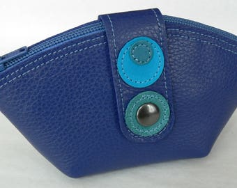 Blue Gypsy zipper leather wallet