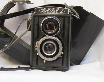 1950 Soviet camera Lubitel 2 , metal black body in original Black leather case. Soviet Camera, Lubitel Camera, lubitel 2, lubitel 2 camera.
