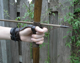 Archery Bow Glove, Shooting Off Hand Glove - Renaissance Medieval Ranger Rustic - Choose Your Size & Color
