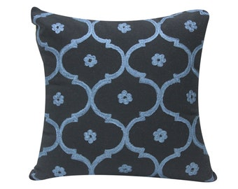 Ogee Embroidered Cushion | Decorative Pillow Cover | Throw Cushion