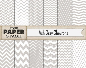 Chevron Digital Paper, Gray Chevron, Silver Chevron, Ash Gray, Chevron Scrapbook Paper, Wedding Scrapbook, Commercial Use, Download