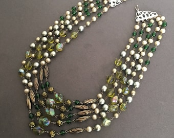 Vintage Multi Strand Necklace Green Faceted Beads With Faux Pearls