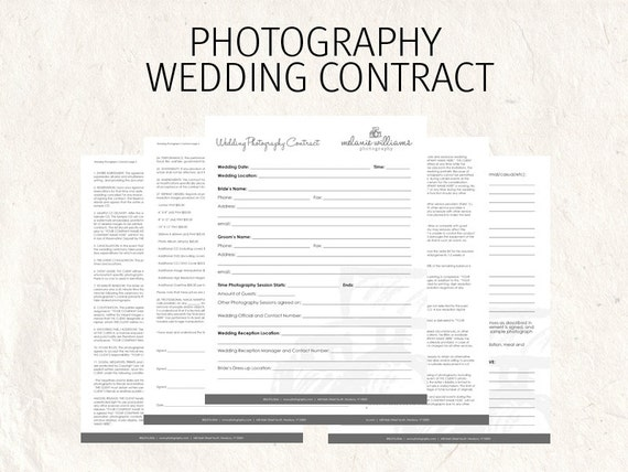 Wedding Photography Invoice: Wedding Photography Contract Business Forms Flowers Editable