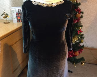 Charcoal velvet with embelised neckline