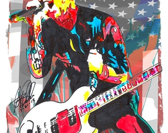 """Billie Joe Armstrong, Green Day, Vocals, Guitar, Punk Rock, Music, POSTER from Original Dwg 18"""" x 24"""" Signed/Dated by Artist w/COA"""