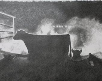 Night Check - Livestock Drawing