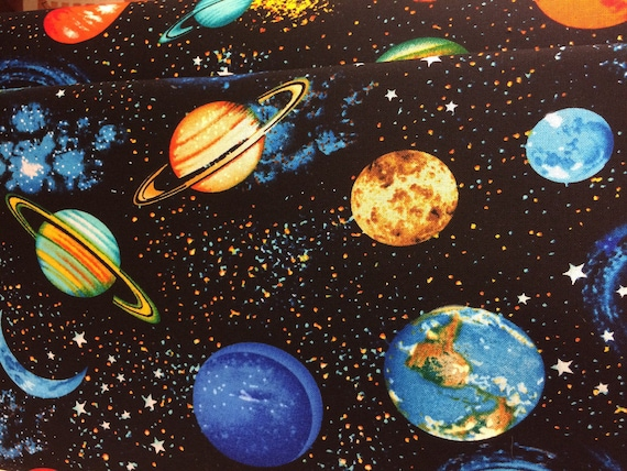 Planets outer space solar system fabric galaxy fabric for 3d space fabric