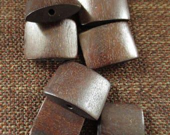 """Set of 7 Jolina """"pillow"""" Brown wood beads"""