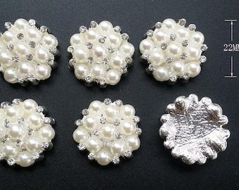 12 pcs  Rhinestone Embellishment Rhinestone pearl Button, Wedding supply, Hair Clip Brooch Bouquet Jewelry Supplies,Flatback button B03