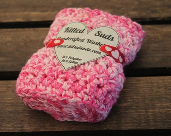 Pink Cotton Washcloth | Pink Washcloth | Pink Dishcloth | Valentine's Day | Gift for Her | Crochet Washcloth | Crochet Dishcloth