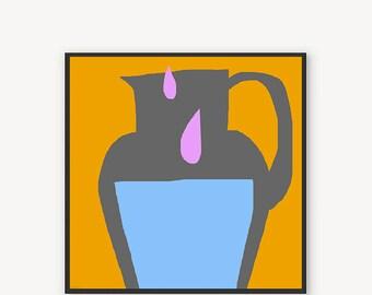 Milk 012 Kitchen art Modern canvas print  Orange Blue Pink Minimalist art Abstract wall art by Mirano 2017