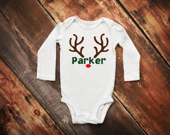 Christmas Reindeer Antlers Boy or Girl bodysuit