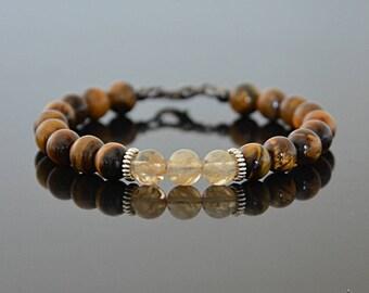 November Birthday Gifts - Men's Bracelet - Citrine Bracelet - November Birthstone Bracelet - Clothing Gift for Men - Gift for Yoga Lover