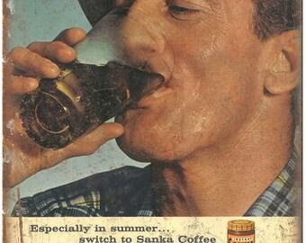 "Sanka Coffee Vintage Ad 10"" X 7"" Reproduction Metal Sign N121"