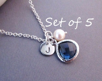 Set of 5 Bridesmaid Necklaces --  Disc with Initial, Jewel, and Pearl, Personalized Necklace, Bridesmaid Gift, Birthstone Necklace