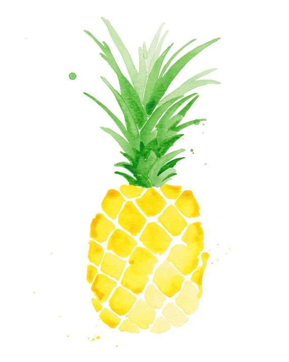 Pineapple Watercolor Print Decor