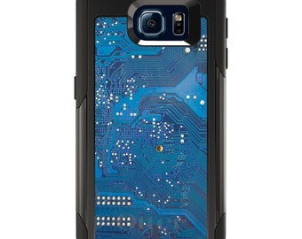 OtterBox Commuter for Galaxy S4 S5 S6 S7 S8 S8+ S9 S9+ / Note 4 5 8 - CUSTOM Monogram - Any Colors - Blue Circuit Board