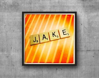 JAKE - JACOB - Name Art - Scrabble Tile Name - Art Photo - Photography Art Print - Name Sign