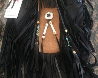Black leather hide tribe bag