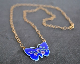 VINTAGE GUILLOCHE BUTTERFLY necklace