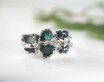 May Birthstone • Raw Emerald Ring • Emerald Ring • Raw Crystal Ring •Rings for Women • Gift for Mom •Emerald Anniversary • Raw Ring