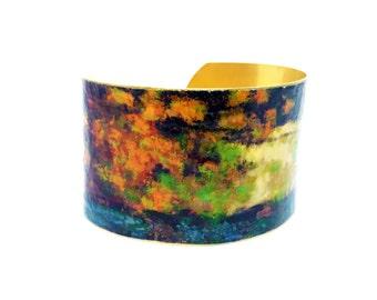 Unique Cuff Bracelet - Brass Cuff - Gift for Her - Art Lover Bracelet - Birthday Gift - Fine Art Bracelet - Contemporary Jewelry