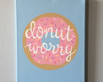 Donut Worry Light Blue Quote Canvas 8x10 in.
