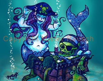 Mermaid and Pirate Skeleton Signed Art Print by Mister Reusch