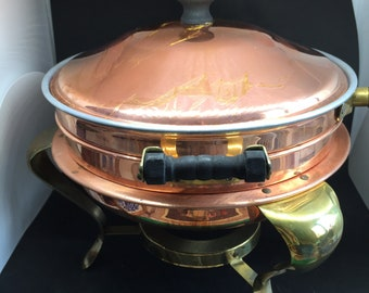 Vintage Mid-Century Modern Copper Brass Fondue Pot Chafing Dish Wood Handle Fondue Holiday Party Retro Kitchen