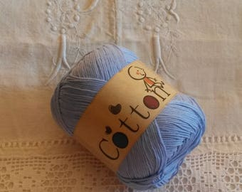 Cotton knit or crochet yarn / knitting or crochet cotton yarn / azure / cotton baby /coton for