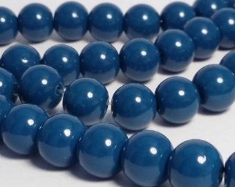 30pcs Lake Blue Glass Beads 8mm - B51747