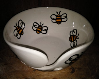 Hand Painted Yarn Bowl Bee Design