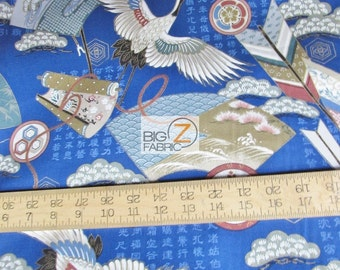 """Crane Flying Blue By Notions In Paradise LTD.100% Cotton Fabric - 45"""" Width (FH-1612)"""