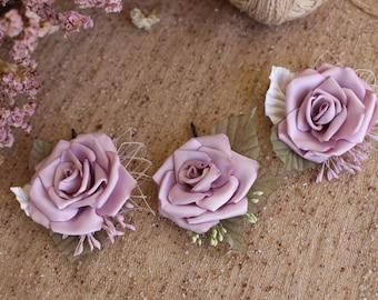 Roses hair bobby pin light purple Rose hair bobby pin wedding Hair Piece Dusty Lilac hair pins Bridesmaid bridal Woman girl Rose hair pin