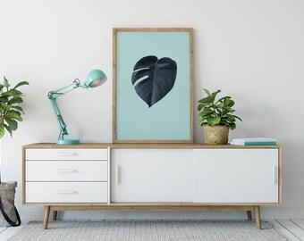 Monstera Leaf Print, Tropical Wall Art, mint monstera, Botanical Print, Tropical Art, Tropical Decor, Tropical Print, Tropical Leaf Print