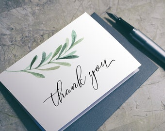Greenery Thank You Card Printable PDF - Thank you Card Download A2 - Green Leaf - Eucalyptus - Instant Download PDF - 4.25 x 5.5 - #GD3835