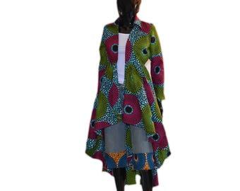 African Print Coat,Hi lo African Dress,Ankara blazer,Hi lo shirt,Party blouse,Kitenge top,African Wax Print Top,Women's blazers,African shop