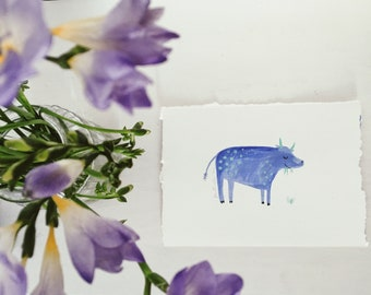 Blue Cow Gouache Artwork, part of Scary beasts series // handmade artwork wall art cute kids and adults art, What are you scared of
